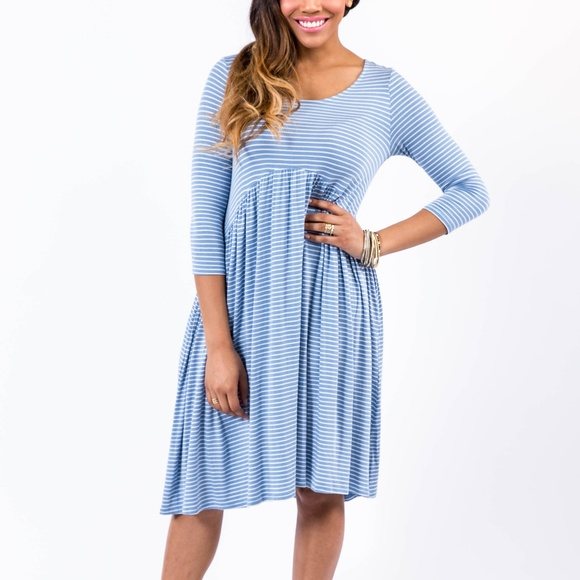 Agnes & Dora Dresses & Skirts - Midi Dress Denim and Ivory Stripe